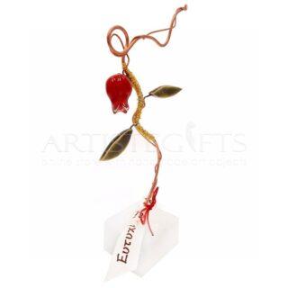 Mini Κλαδί με Δύο Κεραμικά Κόκκινα Ρόδια & Ευχές