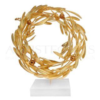 Στεφάνι Ελιάς Κυκλικό Πλέξιμο, Χρυσό Πλούσιο Με Καρπούς, στεφάνια, στεφάνι, δώρα με στεφάνια, στεφάνια ελιάς, ελιά, ελιές, ελληνικά δώρα, δώρα επιβράβευσης, αναμνηστικά δώρα, δώρα αποφοίτησης, δώρα για κουμπάρους, δώρα για νονό, δώρα για νονά, awards, επιχειρηματικά δώρα, δώρα με μήνυμα, δώρα με λογοτύπηση, ελληνικά δώρα, εκλεπτυσμένα δώρα