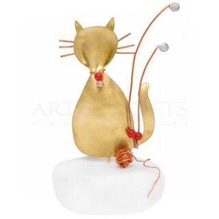 Γάτα με Κουβάρι Στολισμένη με Κόκκινες Χάντρες, δώρα για γατόφιλο, δώρα για γατόφιλους, δώρα για κτηνίατρο, δώρα με γάτες, γάτες, γάτα, δώρα για λάτρεις της γάτας, γάτος, γάτοι, γατιά, γατάκια,