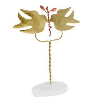 Ζευγάρι Περιστέρια Αντικριστά Με Κλαδί Ελιάς Σε Μάρμαρο, αναμνηστικά δώρα, δώρα για επέτειο, δώρα γάμου, δώρα για αρραβώνα, ελληνικά δώρα, περιστέρι με κλαδί ελιάς, περιστέρια, δώρα με περιστέρια,