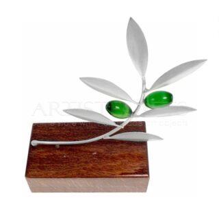 Γυρτό Μικρό Κλαδί Ελιάς Ασημένιο 925° Σε Ξύλινη Βάση
