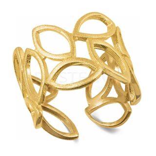 Χειροποίητο Δαχτυλίδι Με Φύλλα Επικαλυμμένο Με Χρυσό, One Size