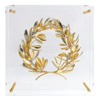 Αληθινό Στεφάνι Ελιάς Χρυσό Και Ασήμι Εγκλωβισμένο Σε Πλέξιγκλας, vraveia, vraveio, βραβεία, στεφάνι εγκλωβισμένο σε πλέξι, ελιά, κλαδί ελιάς, διακοσμητικά δώρα με ελιά, αναμνηστικά δώρα, ελληνικά δώρα, δώρα με ελιά, awards, award, επιχειρηματικά δώρα, δώρα συνταξιοδότησης, δώρα επιβράβευσης, αληθινό στεφάνι ελιάς, δέντρο ελιάς,, χρυσό στεφάνι ελιάς, αναμνηστική πλακέτα,