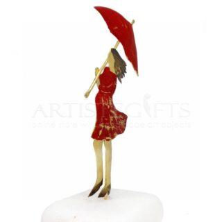 Έγκυος Με Κόκκινο Φόρεμα Και Ομπρέλα