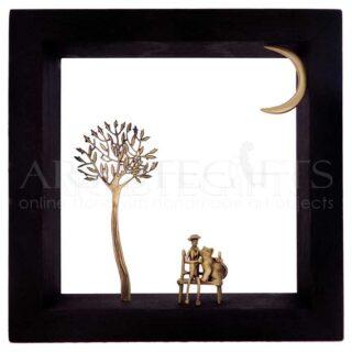 Κάδρο Με Δέντρο, Καθισμένο Άνδρα Με Γάτα Σε Παγκάκι και Φεγγάρι