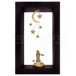 Κάδρο Μικρός Πρίγκιπας Με Λουλούδι,Φεγγάρι και Αστέρια
