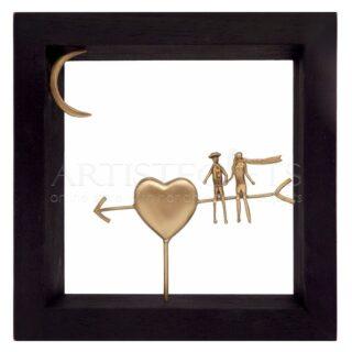 Κάδρο Ερωτευμένοι Καθισμένοι σε Βέλος Καρδιάς