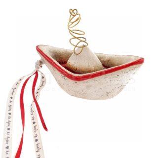 Μικρό Κεραμικό Καράβι Με Κορδέλες Ευχές, γούρια, γούρι, καράβι, δώρα με ευχές, κεραμικό καράβι, κεραμικά, κεραμικά διακοσμητικά, ναυτικά δώρα, επιχειρηματικά δώρα, δώρα για ναυτιλιακή, γούρια με ευχές,