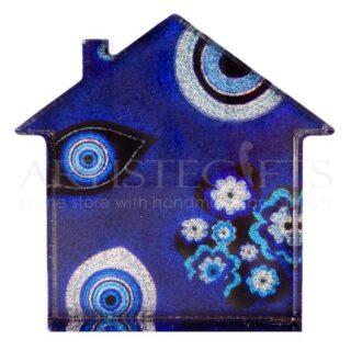 Σπίτι Mini Γούρι Ιριδίζον Με Μπλε Μάτια, γούρια με σπίτι, πρωτότυπα γούρια, spiti, gouria, gouri, ιδέες για γούρια, δώρα για εγκαίνια, μπλε μάτι, τετράφυλλο τριφύλλι,