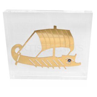 Τριήρης Επιχρυσωμένη Με Χάντρα Μάτι σε Πλέξιγκλας, τριήρης| καράβια| γούρια| αρχαία ελλάδα| ελληνικά δώρα| καράβι τριήρης| ναυτικά δώρα| μουσειακά αντίγραφα| μπλε μάτι| επιχειρηματικά δώρα| αναμνηστικά δώρα|