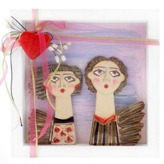 """Κεραμικό Κάδρο """"Eρωτευμένο Ζευγάρι"""" Σχ1, κεραμικό γλυπτό, δώρα για ζευγάρι, δώρα για ζευγάρια, δώρα για νέο σπίτι, δώρα για επέτειο, δώρα γάμου, δώρα αρραβώνα, προσωποποιημένα δώρα, ιδέες δώρων για ζευγάρι"""