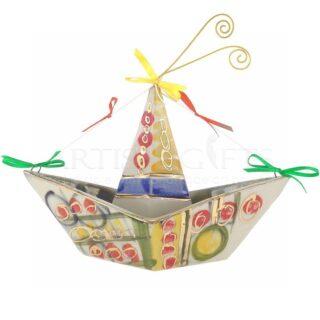 """Κεραμικό Πολύχρωμο """"Χάρτινο Καράβι"""", καράβι, καράβια, χειροποίητα καράβια, ναυτικά δώρα, δώρα για ναυτικούς, χάρτινο καράβι, karavia, karavi, δώρα για βάπτιση, διακοσμητικά δώρα, πρωτότυπα δώρα, ιδέες δώρων για"""