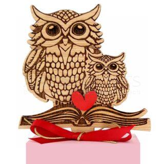 Μεγάλη & Μικρή Κουκουβάγια, Κόκκινη Καρδιά σε Ροζ Βάση, κουκουβάγια, κουκουβάγιες, κουκουβάγιες καθισμένες σε βιβλίο, γλαύκα, σύμβολο σοφίας, αναμνηστικά δώρα για δασκάλα, δώρα για δασκάλες, δώρα ευχαριστίας σε δασκάλα, daskala, daskales, χειροποίητα δώρα για δασκάλους, δώρα για εκπαιδευτικούς, δώρα με μήνυμα για δασκάλα, προσωποποιημένα δώρα για δασκάλα