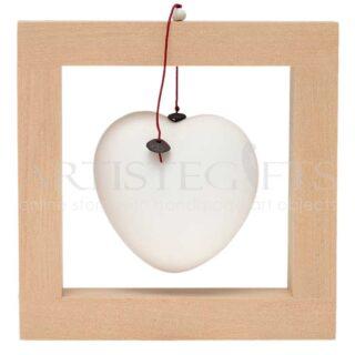 Χειροποίητο Κάδρο Με Κεραμική Μεγάλη Λευκή Καρδιά