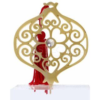 Μεγάλο Επιχρυσωμένο Ρόδι Με Στρας & Φούντα σε Πλέξιγκλας, χειροποίητα γούρια, γούρια με ρόδι, δώρα για γάμο, προσωποποιημένα δώρα, γούρια με ρόδι, δώρα για αρραβώνα, χριστουγεννιάτικα γούρια, πρωτοχρονιάτικα γούρια, μοντέρνα γούρια