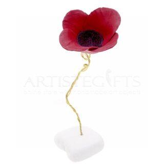 Μεγάλη Κεραμική Κόκκινη Παπαρούνα Σε Μάρμαρο, παπαρούνα, διακοσμητικά λουλούδια, χειροποίητα λουλούδια, πρωτότυπα διακοσμητικά δώρα, κεραμικά δώρα, δώρα για νέο σπίτι, λουλούδι, δώρα για εγκαίνια, δώρα για γιορτή, δώρα για γενέθλια