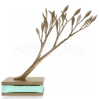 Κλαδί Ελιάς Σε Βάση Από Κρύσταλλα & Ξύλο, γλυπτό δέντρο ελιάς, δέντρο, κρύσταλλα, βραβεία, επιχειρηματικά δώρα, δώρα για νέο σπίτι, δώρα για νέο γραφείο, δώρα για νέο σπίτι, προσωποποιημένα δώρα