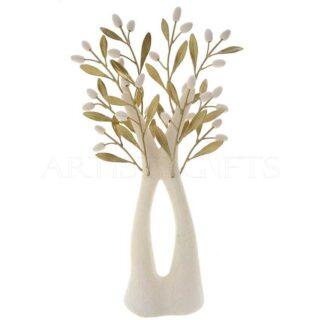 Κεραμικό Δέντρο Με Διχάλα Και Ορειχάλκινα Φύλλα