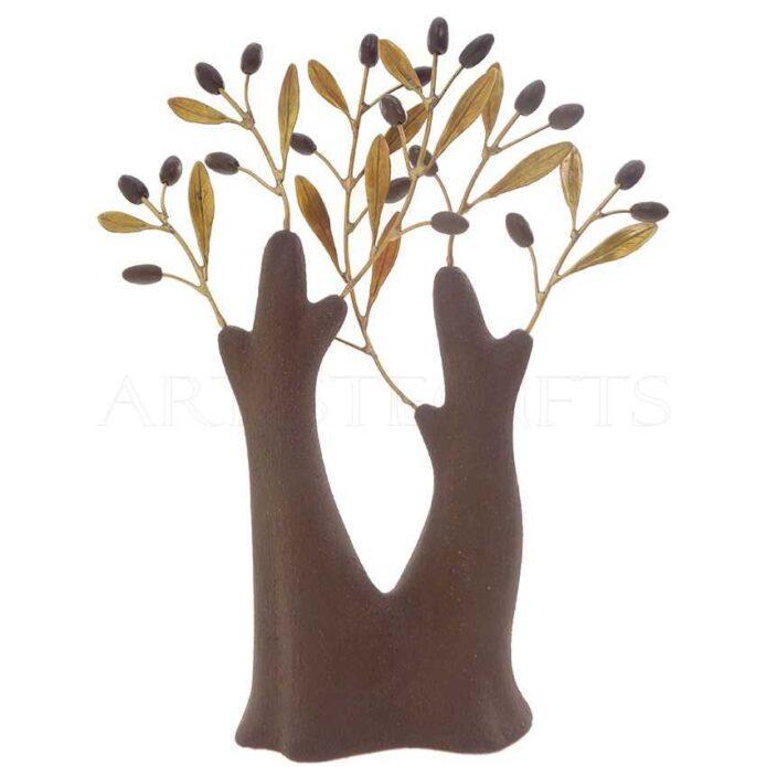 Κεραμικό Δέντρο Με Διπλό Κορμό Ορειχάλκινα Φύλλα