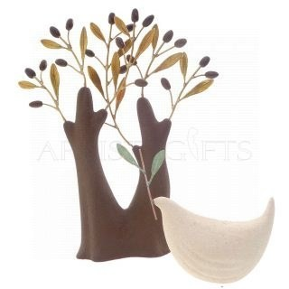 Κεραμικό Δέντρο Με Διπλό Κορμό Και Μικρό Πουλί Με Ελιά