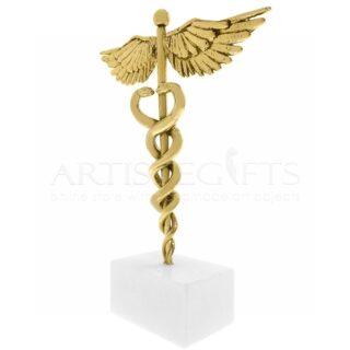 Σύμβολο Ιατρικής Από Ορείχαλκο Σε Μάρμαρο