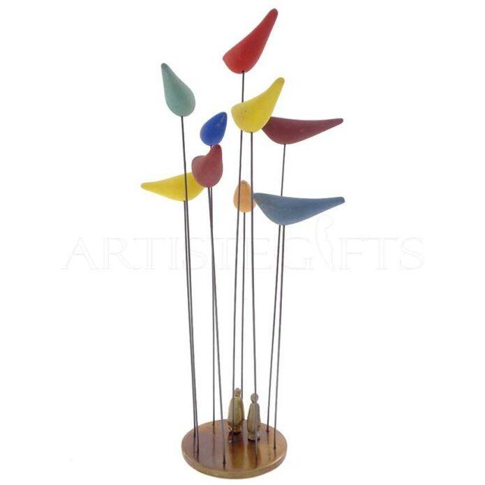 Κινητικό Μικρογλυπτό Με Ζευγάρι Πολύχρωμα Πουλιά Σε Οξειδωμένη Βάση