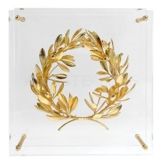 Αληθινό Στεφάνι Ελιάς Χρυσό Εγκλωβισμένο Σε Πλέξιγκλας