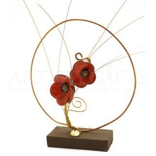Διακοσμητικό Γούρι Με Κόκκινα Λουλούδια Σε Κύκλο και 21, γούρια, χειροποίητα γούρια, ιδέες για γούρια, γούρια 2021, γούρια για σπίτι, επιχειρηματικά δώρα, χριστουγεννιάτικα δώρα, δώρα για εγκαίνια, δώρα για νέο σπίτι, γούρι με 2021