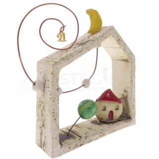 Κεραμικό Σπίτι, Δέντρο Μέσα Σε Κορνίζα και 21, χειροποίητα γούρια, 2021, γουρια με 2021, ιδέες για γούρια, δώρα για εγκαίνια, δώρα για νέο σπίτι, δώρα για πολιτικό μηχανικό, gouri, gouria