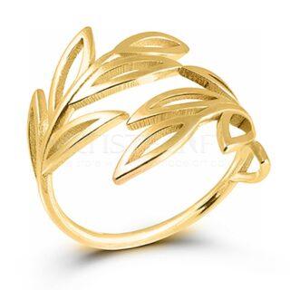 Δαχτυλίδι Με Φύλλα Επικαλυμμένο Με Χρυσό, One Size SX1