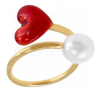 Χειροποίητο Δαχτυλίδι Με Κόκκινη Καρδιά, Μαργαριτάρι, One Size