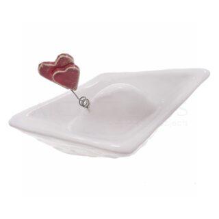 Λευκό Κεραμικό Καράβι με Κόκκινες Καρδιές