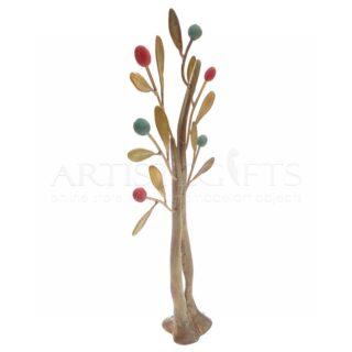 Ορειχάλκινο Δέντρο Με Διχάλα Και Πολύχρωμους Καρπούς
