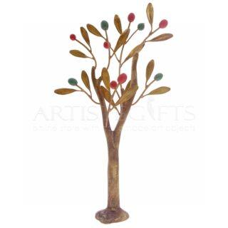 Μικρό Ορειχάλκινο Δέντρο Με Πολύχρωμους Κεραμικούς Καρπούς